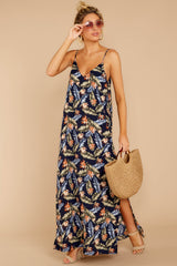 1 Are We There Yet Navy Tropical Print Maxi Dress at reddressboutique.com
