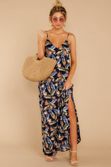2 Are We There Yet Navy Tropical Print Maxi Dress at reddressboutique.com