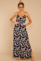 4 Are We There Yet Navy Tropical Print Maxi Dress at reddressboutique.com