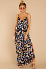 5 Are We There Yet Navy Tropical Print Maxi Dress at reddressboutique.com
