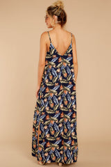 6 Are We There Yet Navy Tropical Print Maxi Dress at reddressboutique.com