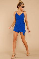 3 Sky's The Limit Royal Blue Romper at reddressboutique.com