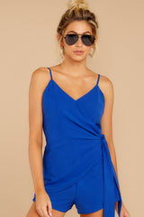 5 Sky's The Limit Royal Blue Romper at reddressboutique.com