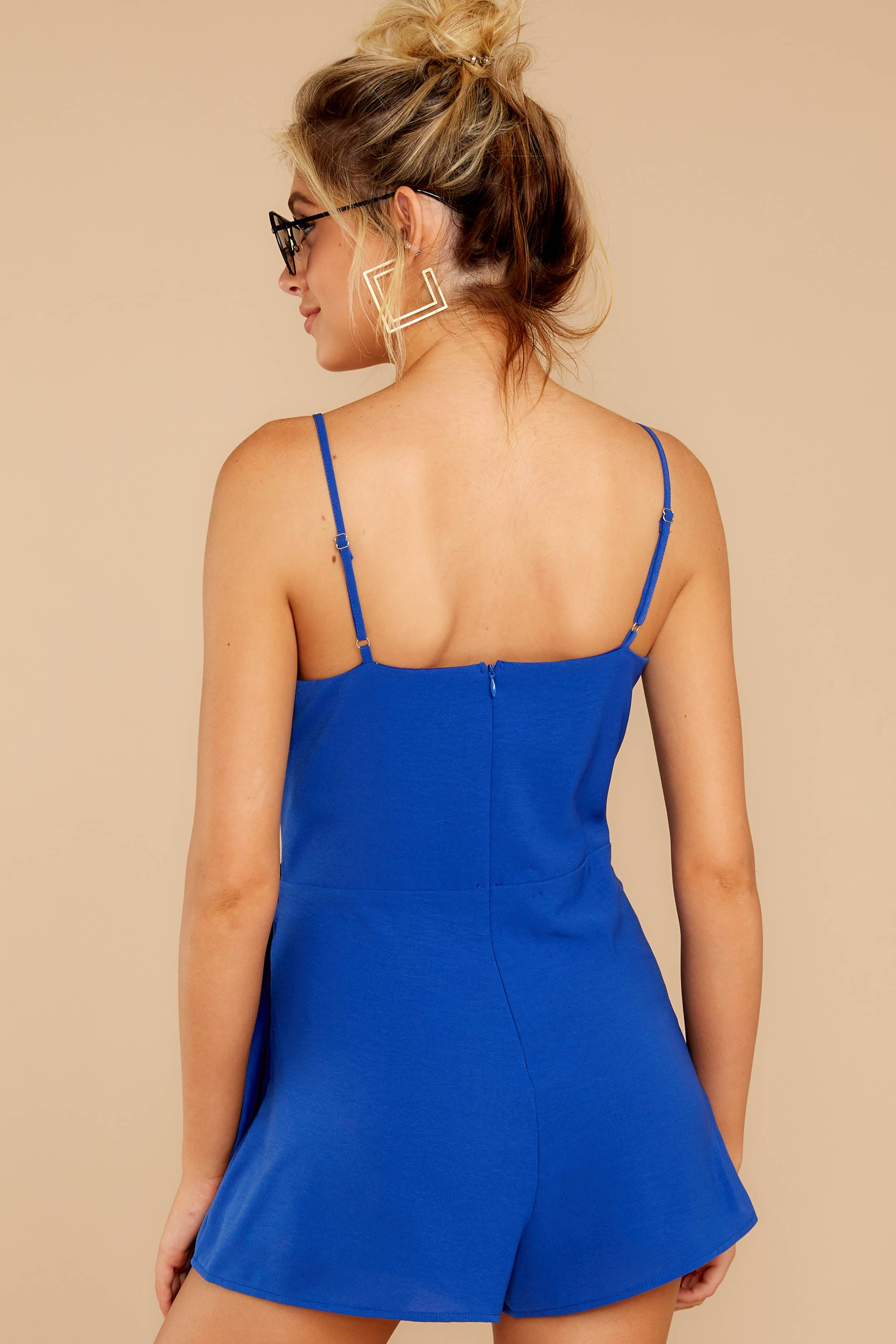 6 Sky's The Limit Royal Blue Romper at reddressboutique.com