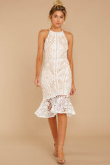 2 Dressed In Chic White Lace Midi Dress at reddressboutique.com