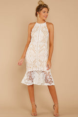 3 Dressed In Chic White Lace Midi Dress at reddressboutique.com