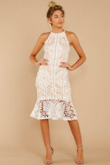 4 Dressed In Chic White Lace Midi Dress at reddressboutique.com