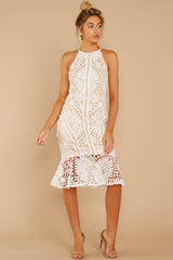 5 Dressed In Chic White Lace Midi Dress at reddressboutique.com