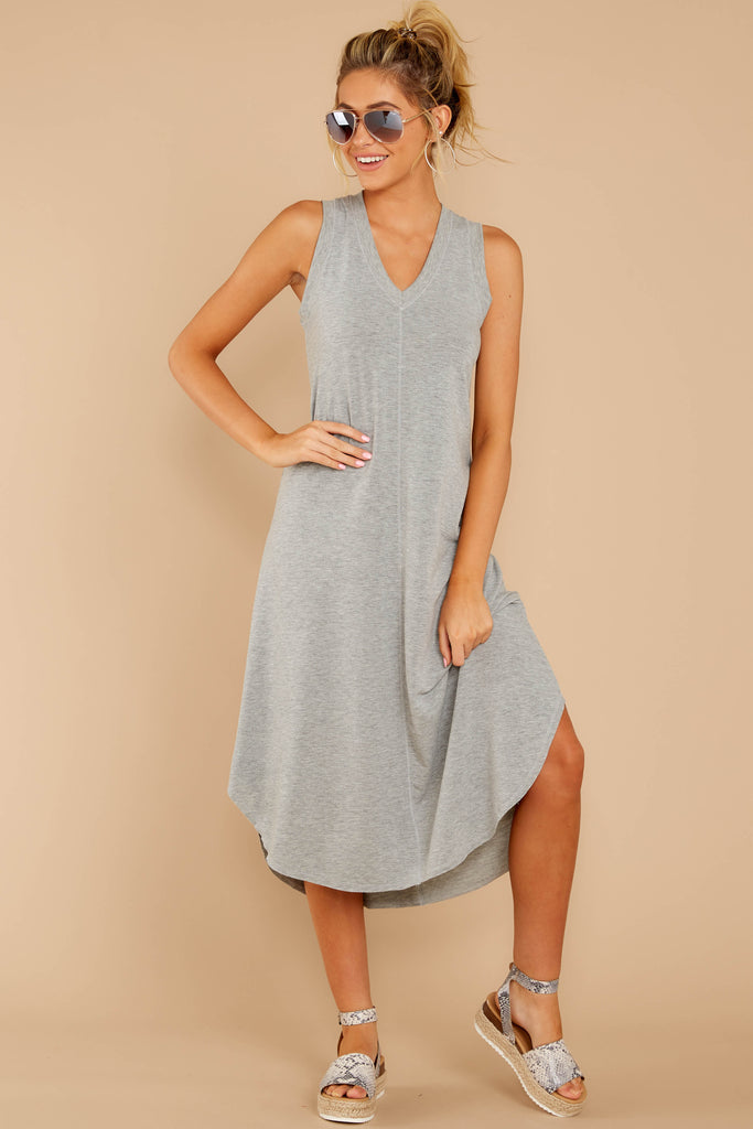 2 Forever Different Light Grey Stripe Maxi Dress at reddressboutique.com
