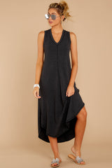 2 Unleashed Comfort Dark Charcoal Midi Dress at reddressboutique.com