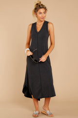 3 Unleashed Comfort Dark Charcoal Midi Dress at reddressboutique.com