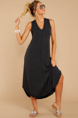 5 Unleashed Comfort Dark Charcoal Midi Dress at reddressboutique.com