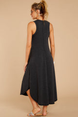 6 Unleashed Comfort Dark Charcoal Midi Dress at reddressboutique.com
