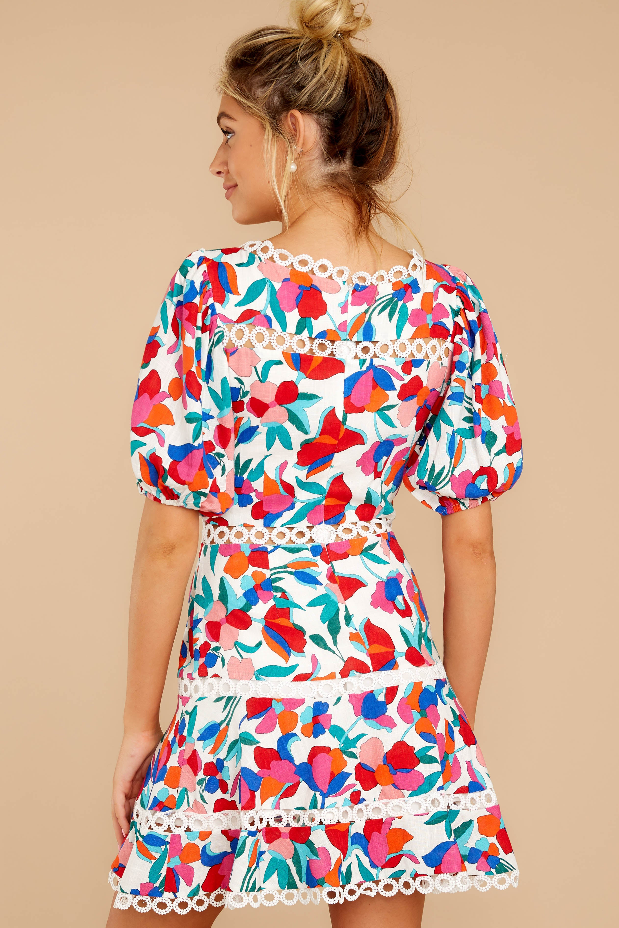 With A Flourish Red Floral Print Dress