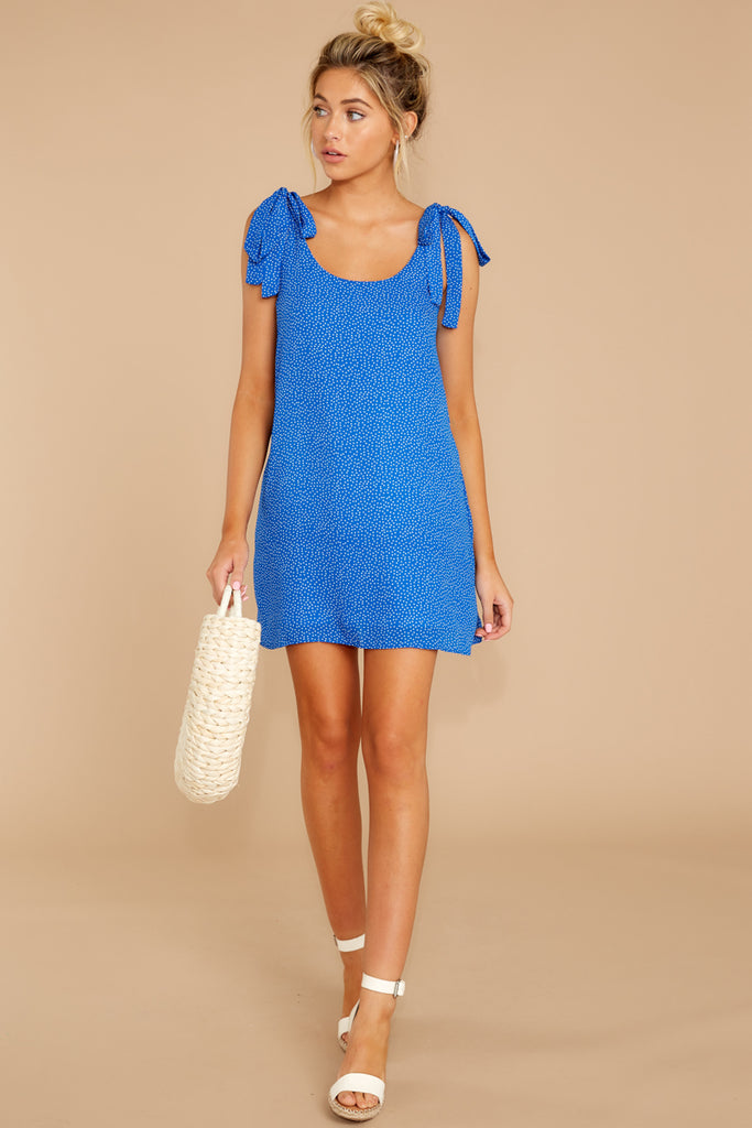7 Think About Spring Blue Polka Dot Wrap Dress at reddressboutique.com