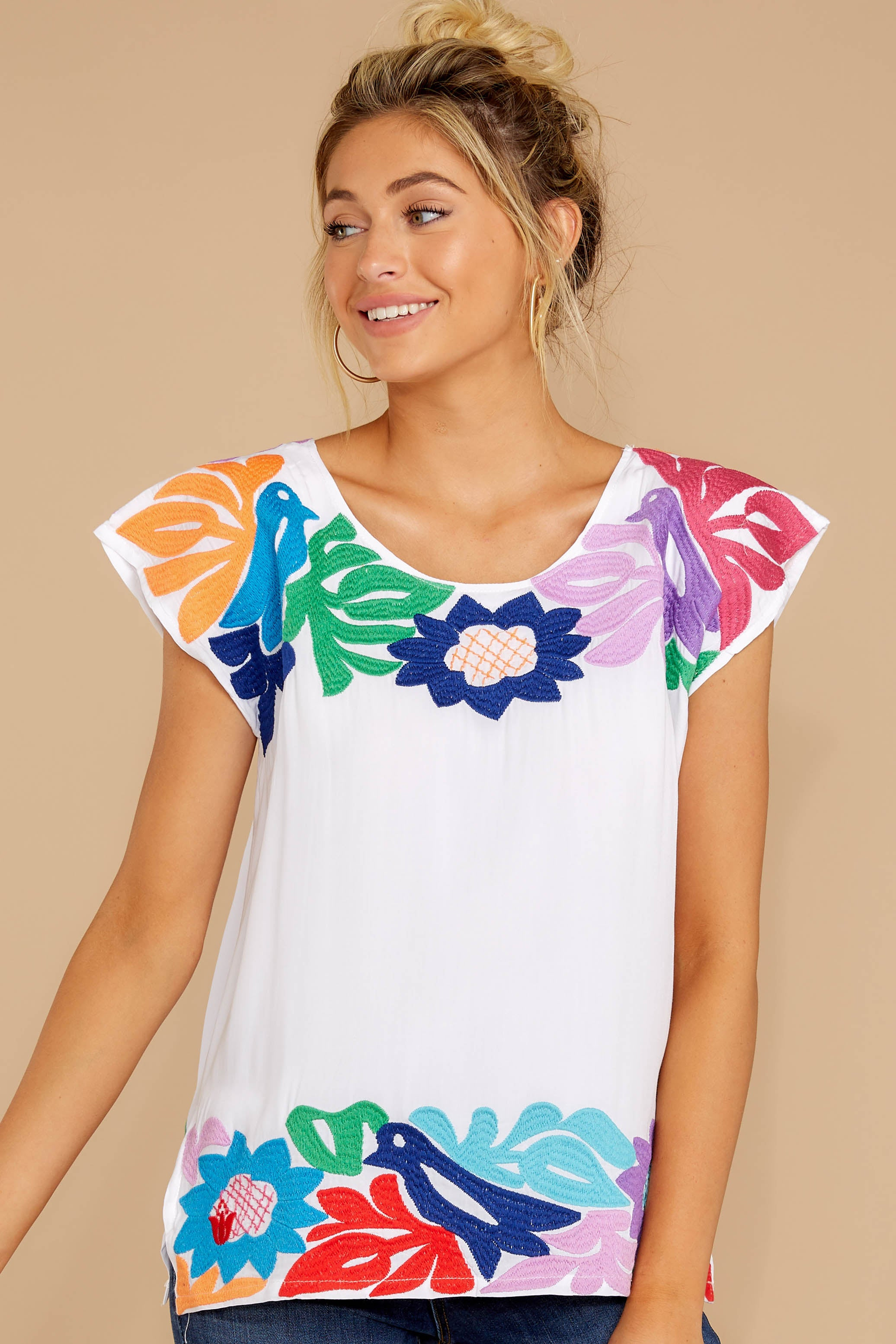 4 Flight To Freedom White Embroidered Top at reddressboutique.com