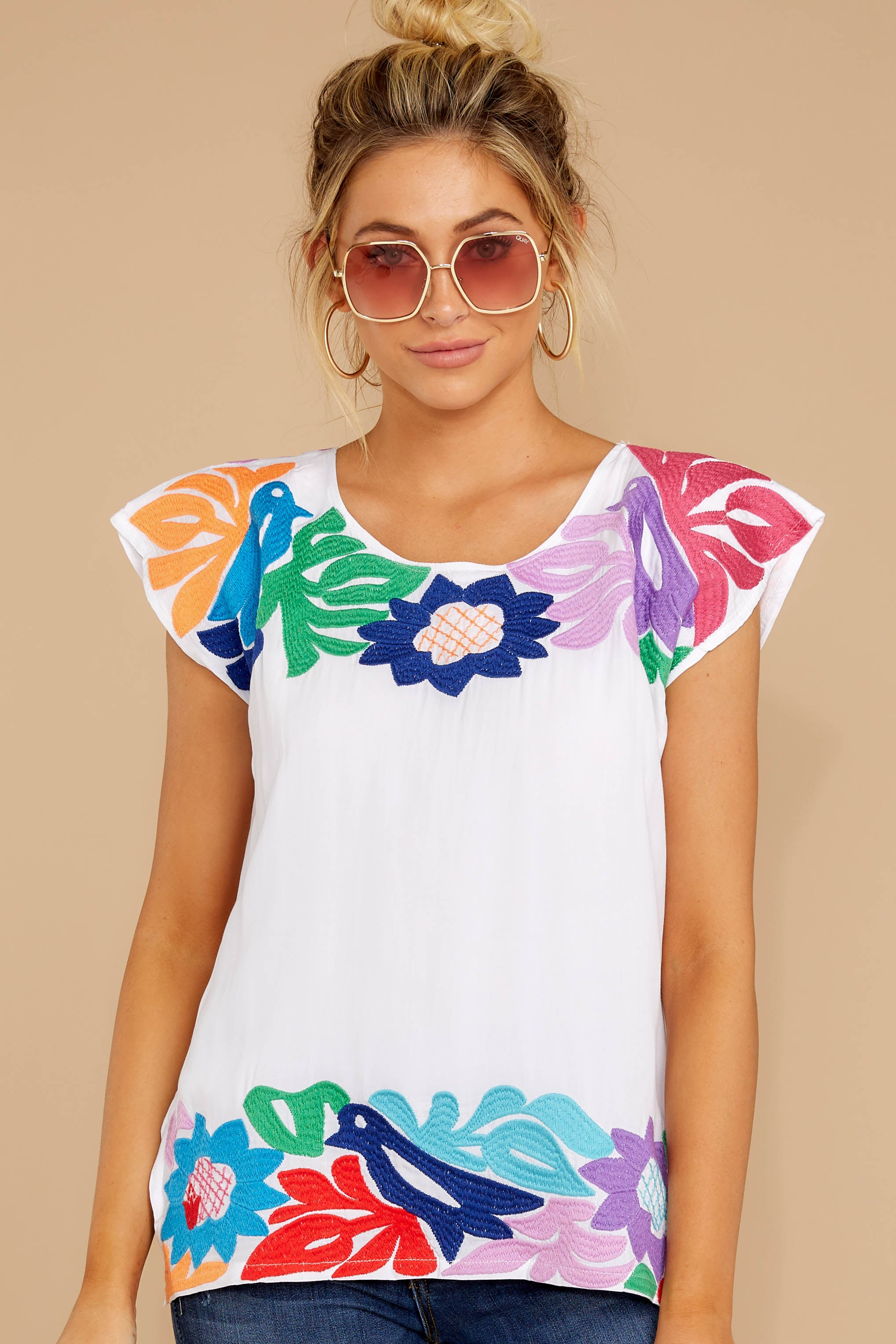 6 Flight To Freedom White Embroidered Top at reddressboutique.com