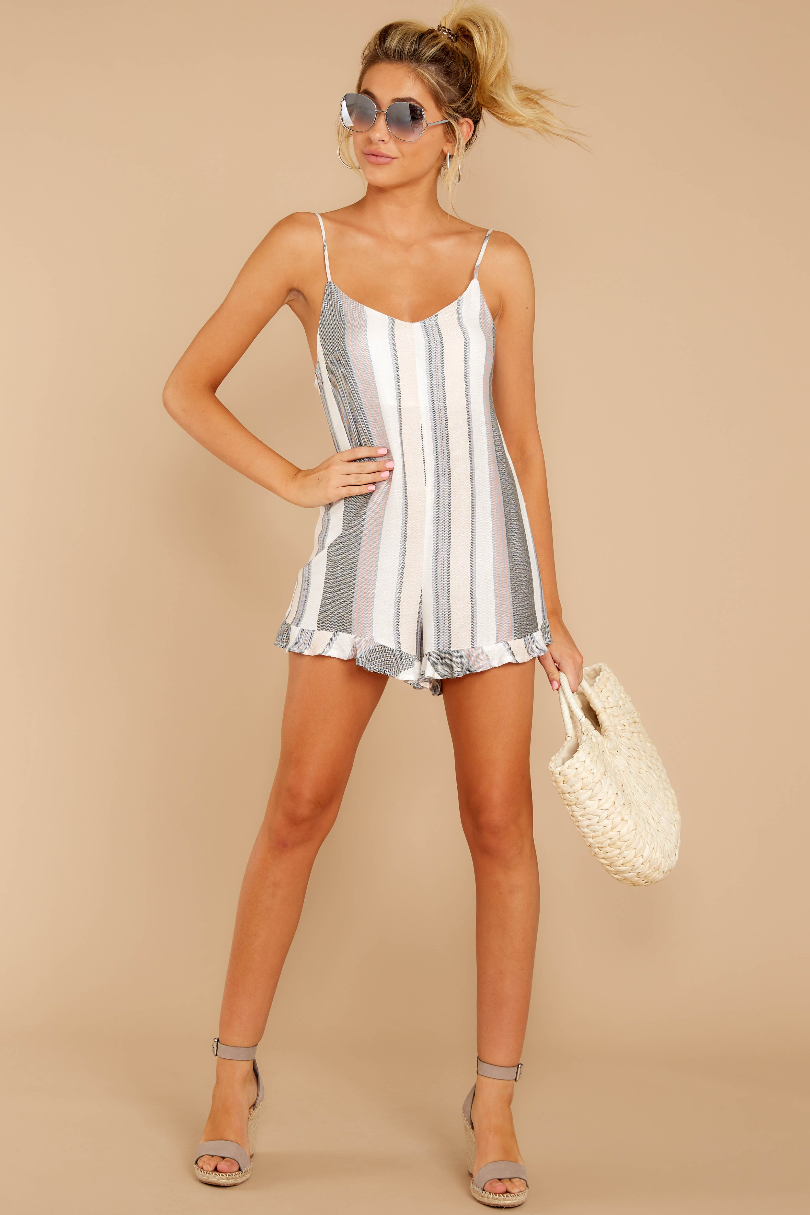 1 Have To Be There Grey Multi Stripe Romper at reddressboutique.com