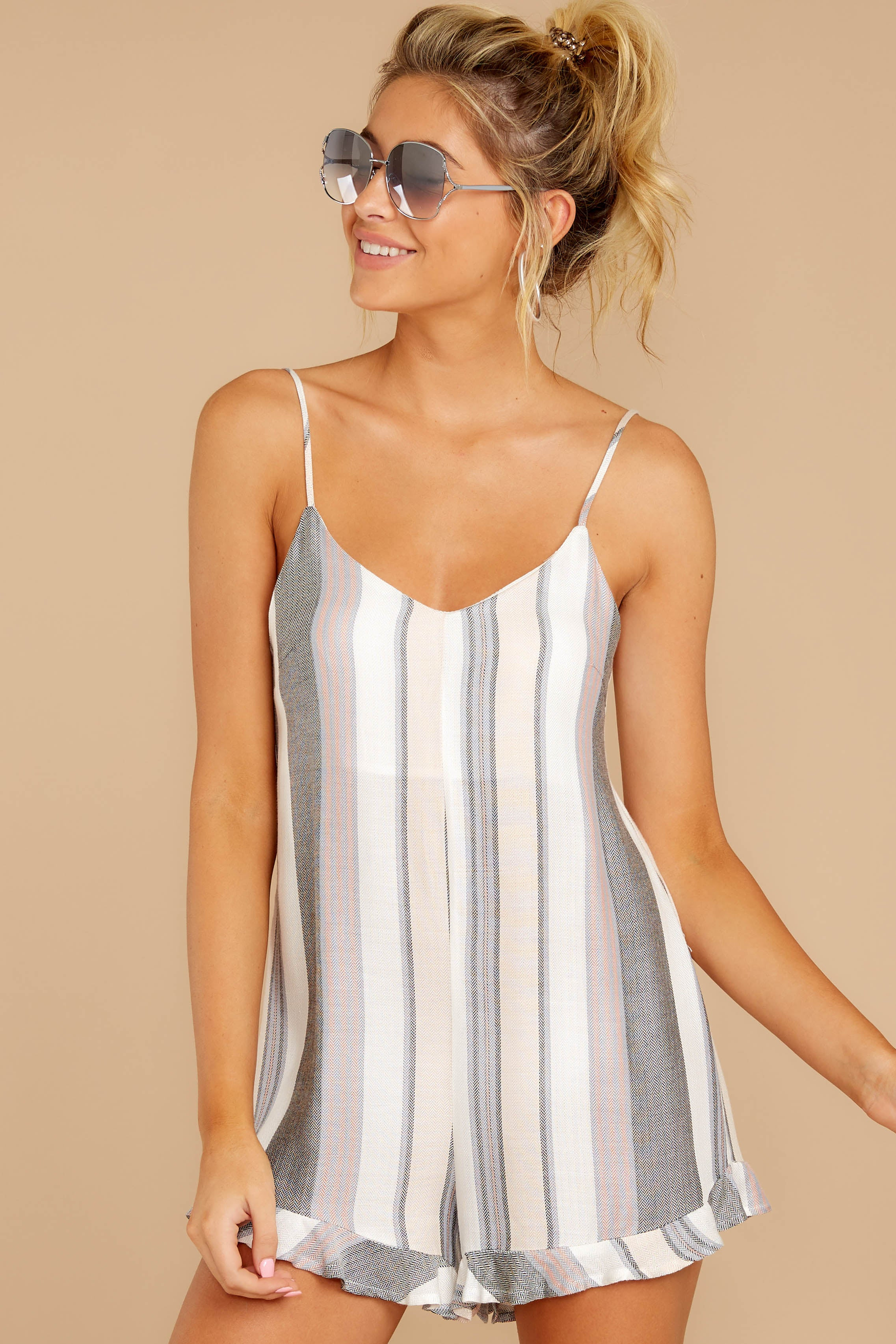 4 Have To Be There Grey Multi Stripe Romper at reddressboutique.com