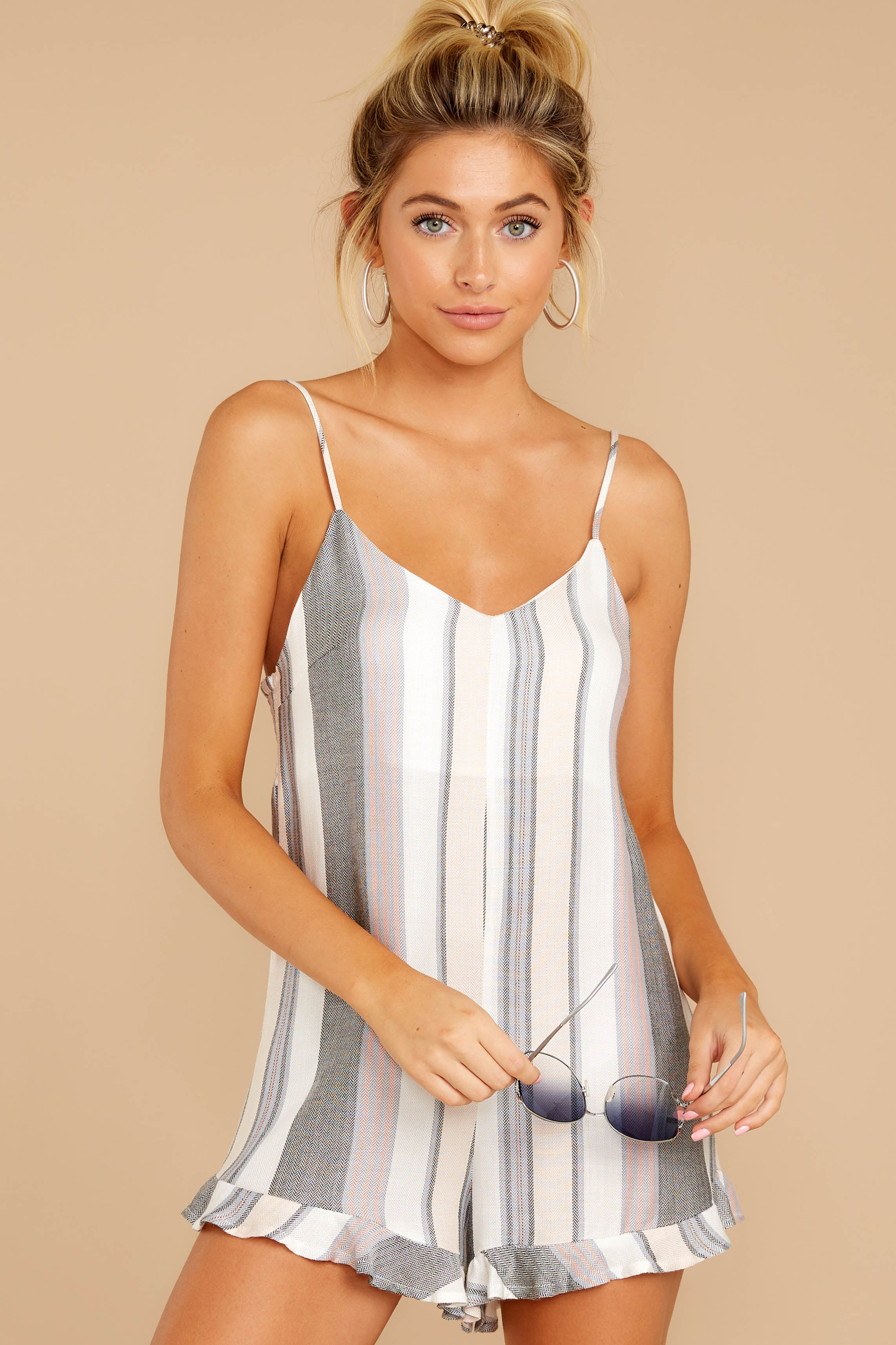 Have To Be There Grey Multi Stripe Romper
