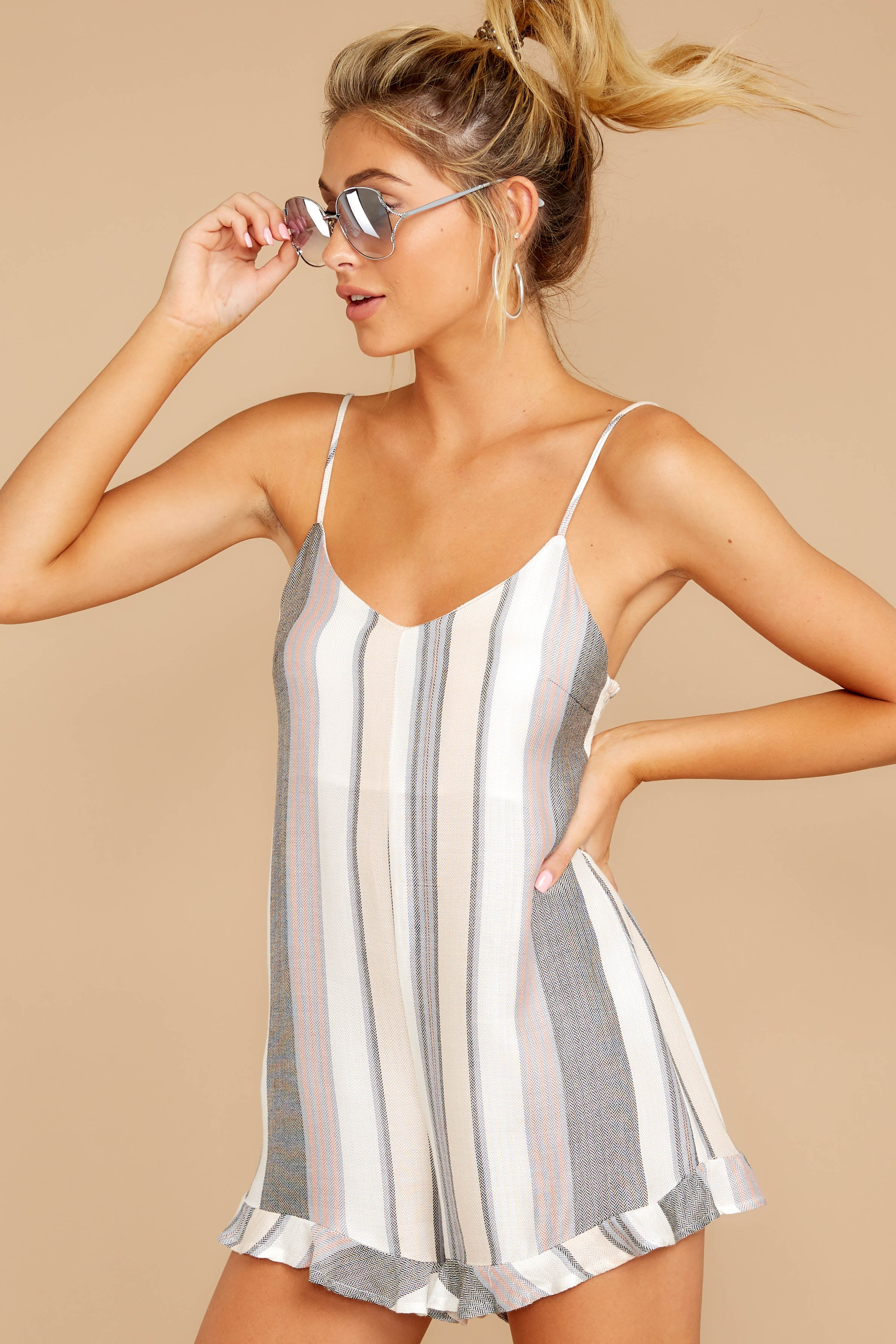 6 Have To Be There Grey Multi Stripe Romper at reddressboutique.com
