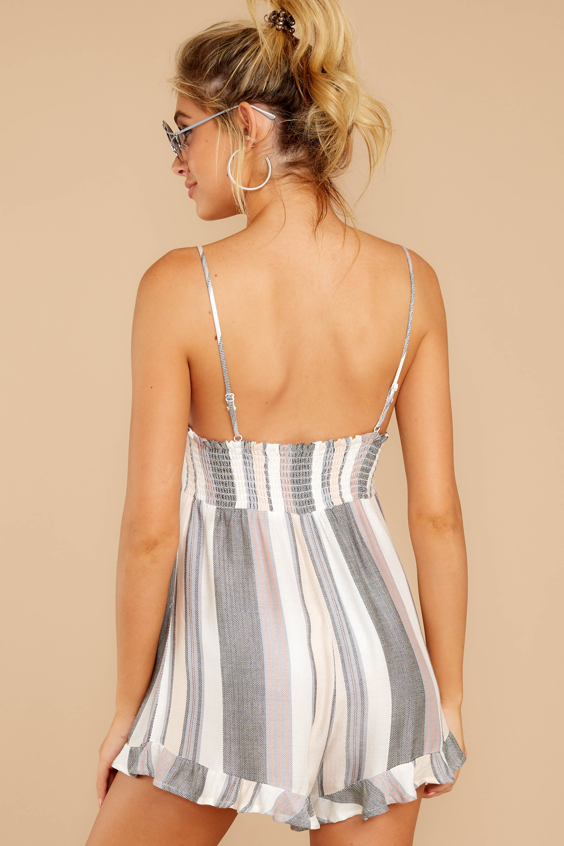 7 Have To Be There Grey Multi Stripe Romper at reddressboutique.com