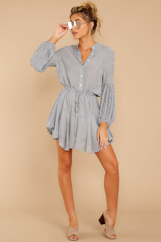 5 Mayday Monday Grey Stripe Button Up Dress at reddressboutique.com