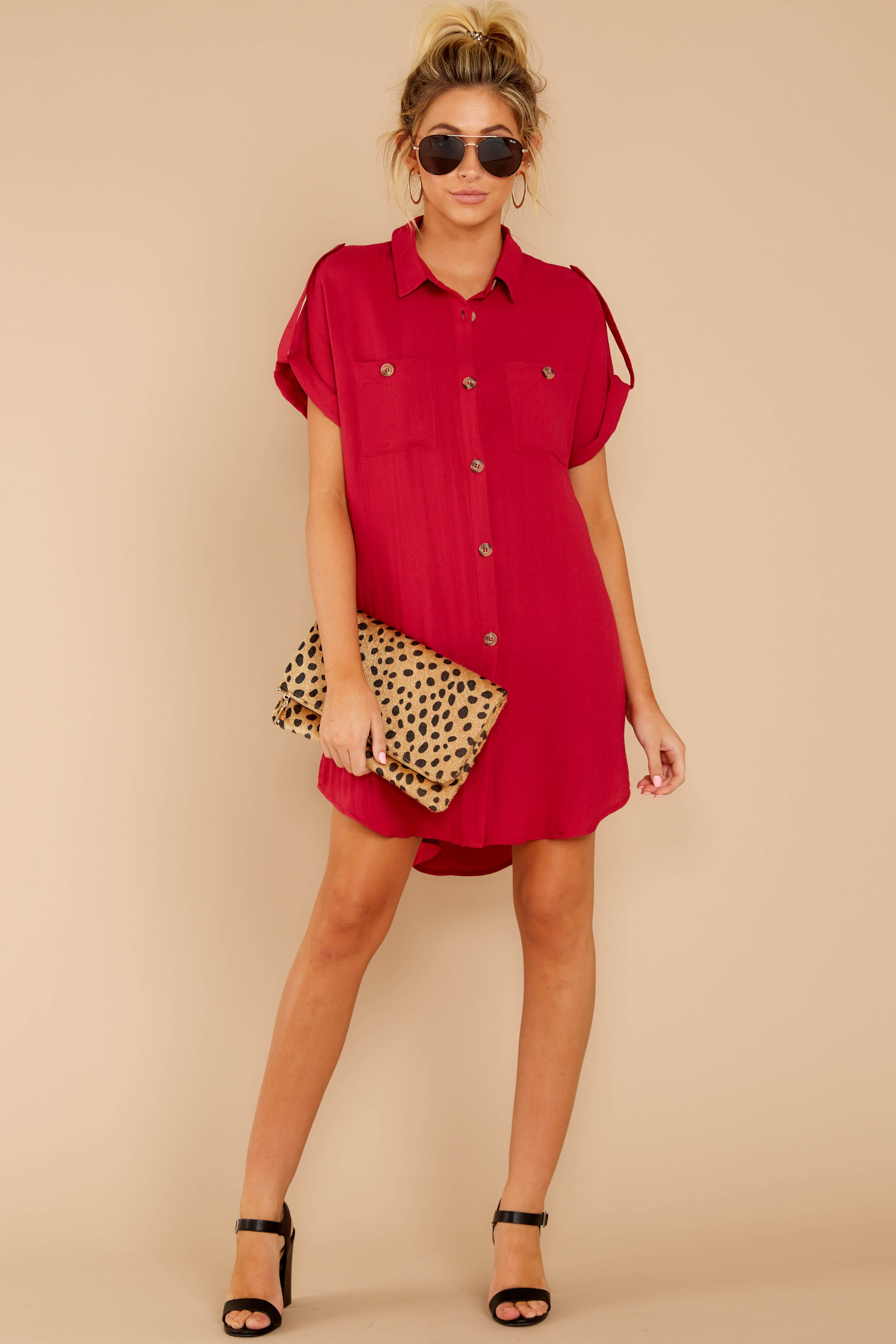 1 So Called Life Berry Red Shirt Dress at reddress.com