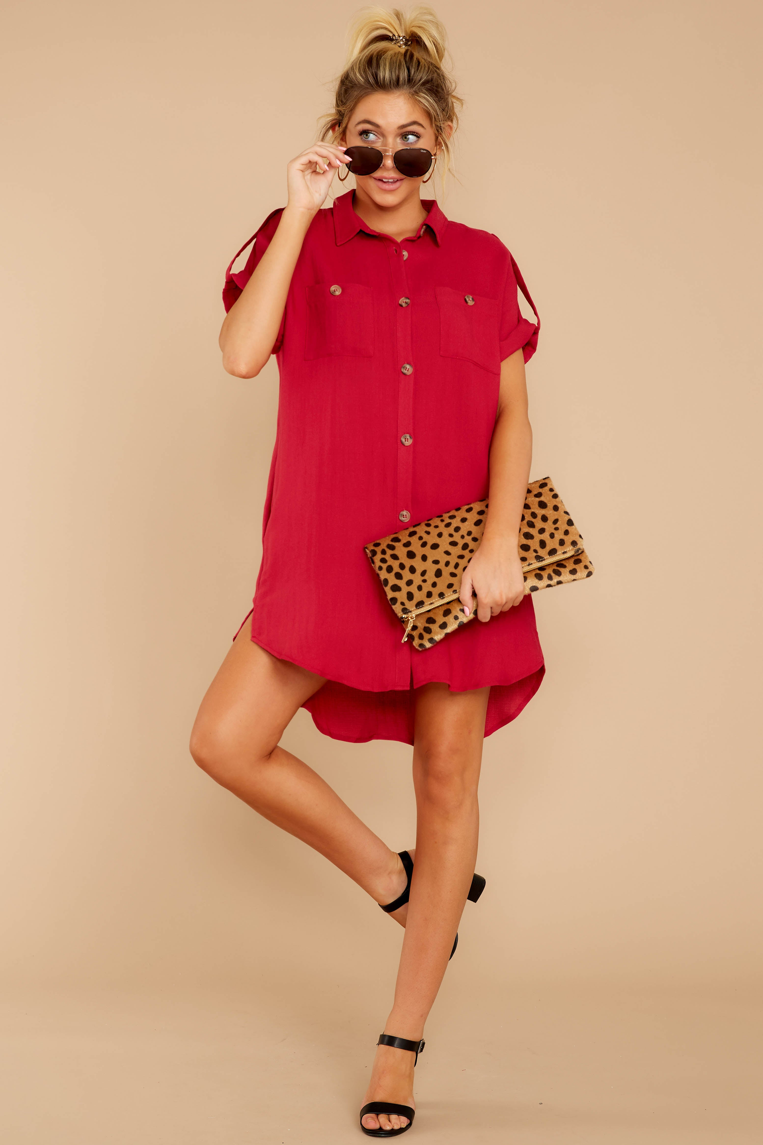 2 So Called Life Berry Red Shirt Dress at reddress.com