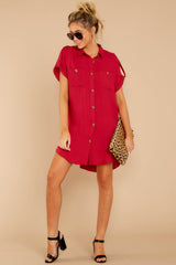3 So Called Life Berry Red Shirt Dress at reddress.com