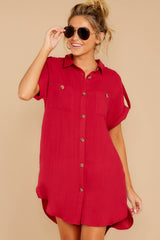4 So Called Life Berry Red Shirt Dress at reddress.com