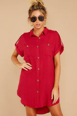 5 So Called Life Berry Red Shirt Dress at reddress.com