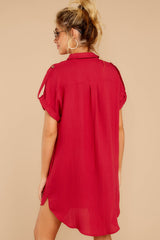 6 So Called Life Berry Red Shirt Dress at reddress.com