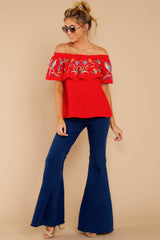 2 Flutter Away With Me Red Embroidered Top at reddressboutique.com