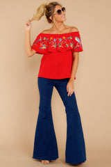3 Flutter Away With Me Red Embroidered Top at reddressboutique.com