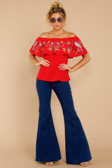 1 Flutter Away With Me Red Embroidered Top at reddressboutique.com