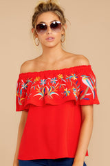 4 Flutter Away With Me Red Embroidered Top at reddressboutique.com