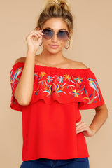 5 Flutter Away With Me Red Embroidered Top at reddressboutique.com