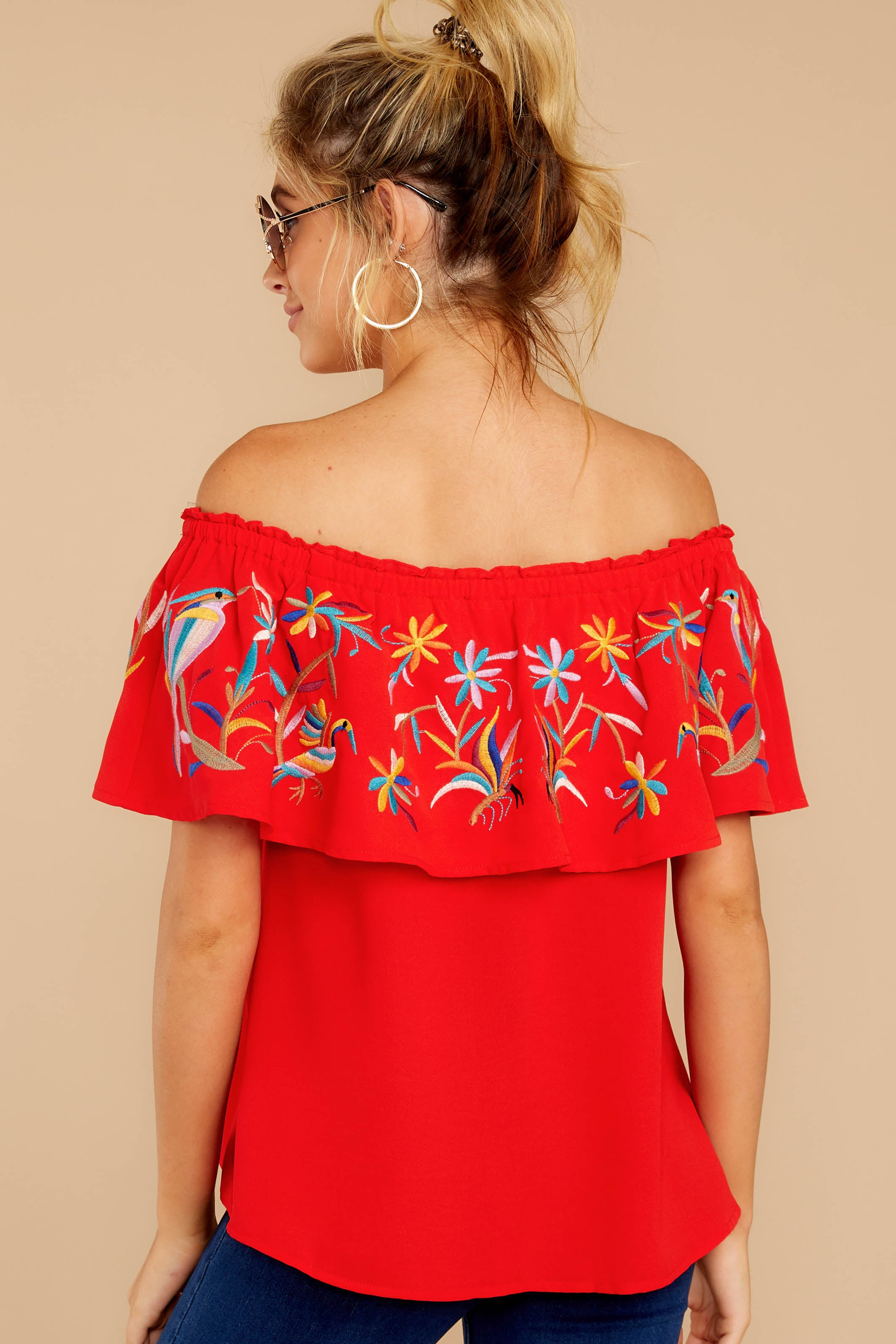 7 Flutter Away With Me Red Embroidered Top at reddressboutique.com