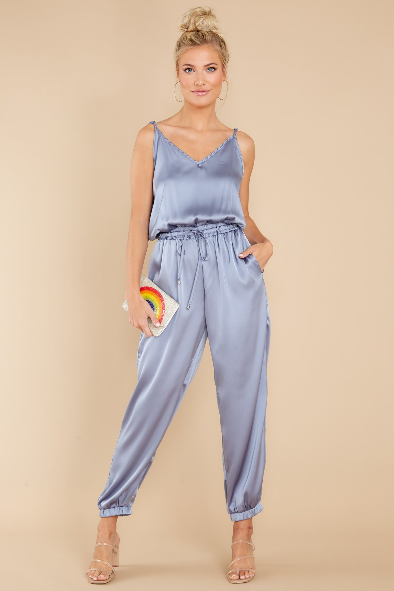 70s Disco Fashion: Disco Clothes, Outfits for Girls Seeking Serenity Blue Iris Jumpsuit $52.00 AT vintagedancer.com