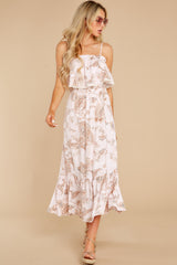 6 Tableside Cutie Dusty Pink Floral Print Maxi Dress at reddress.com
