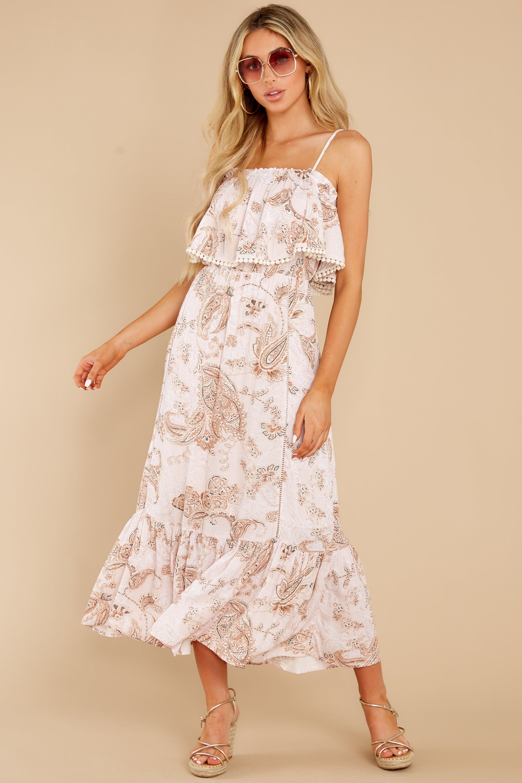 5 Tableside Cutie Dusty Pink Floral Print Maxi Dress at reddress.com