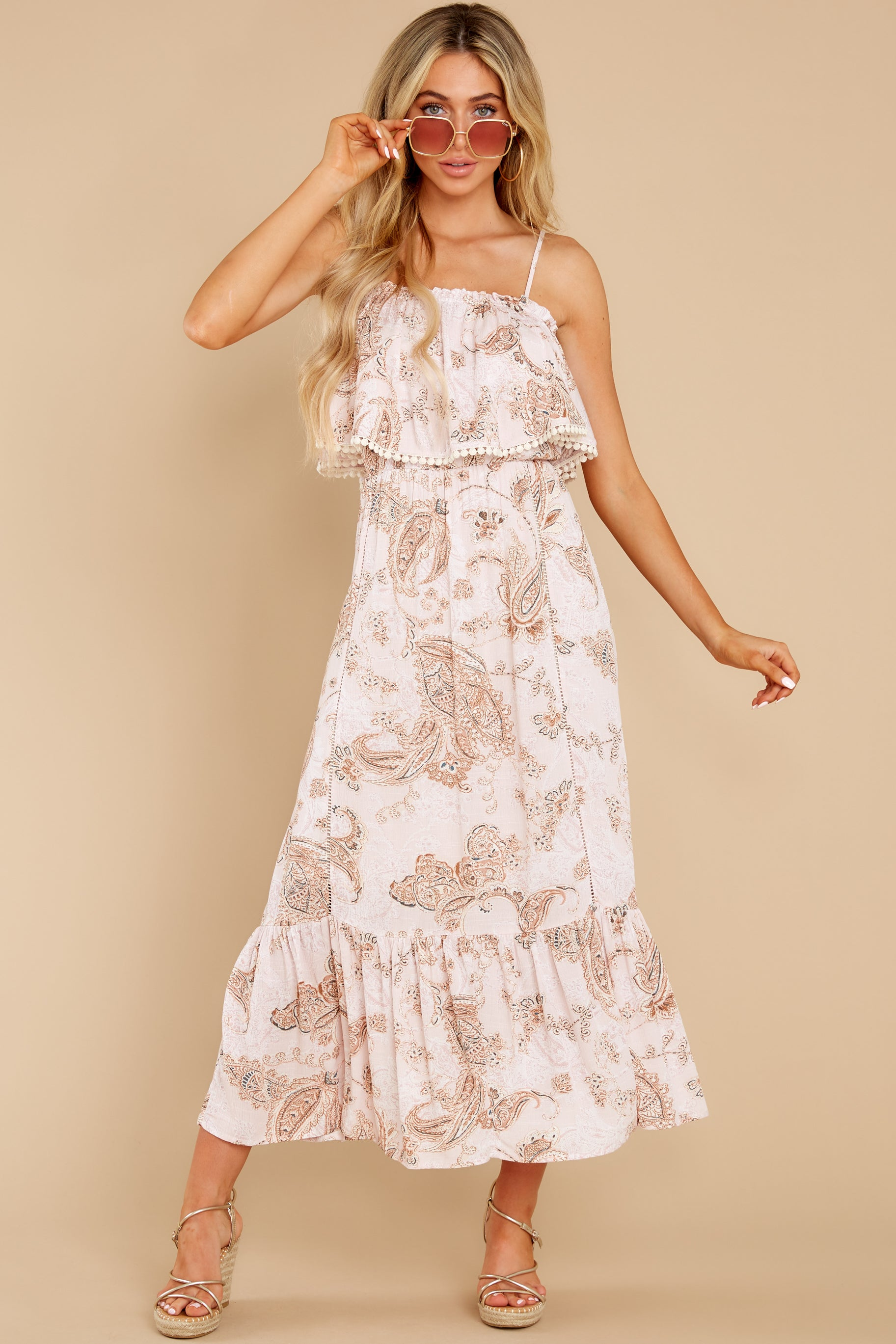 4 Tableside Cutie Dusty Pink Floral Print Maxi Dress at reddress.com