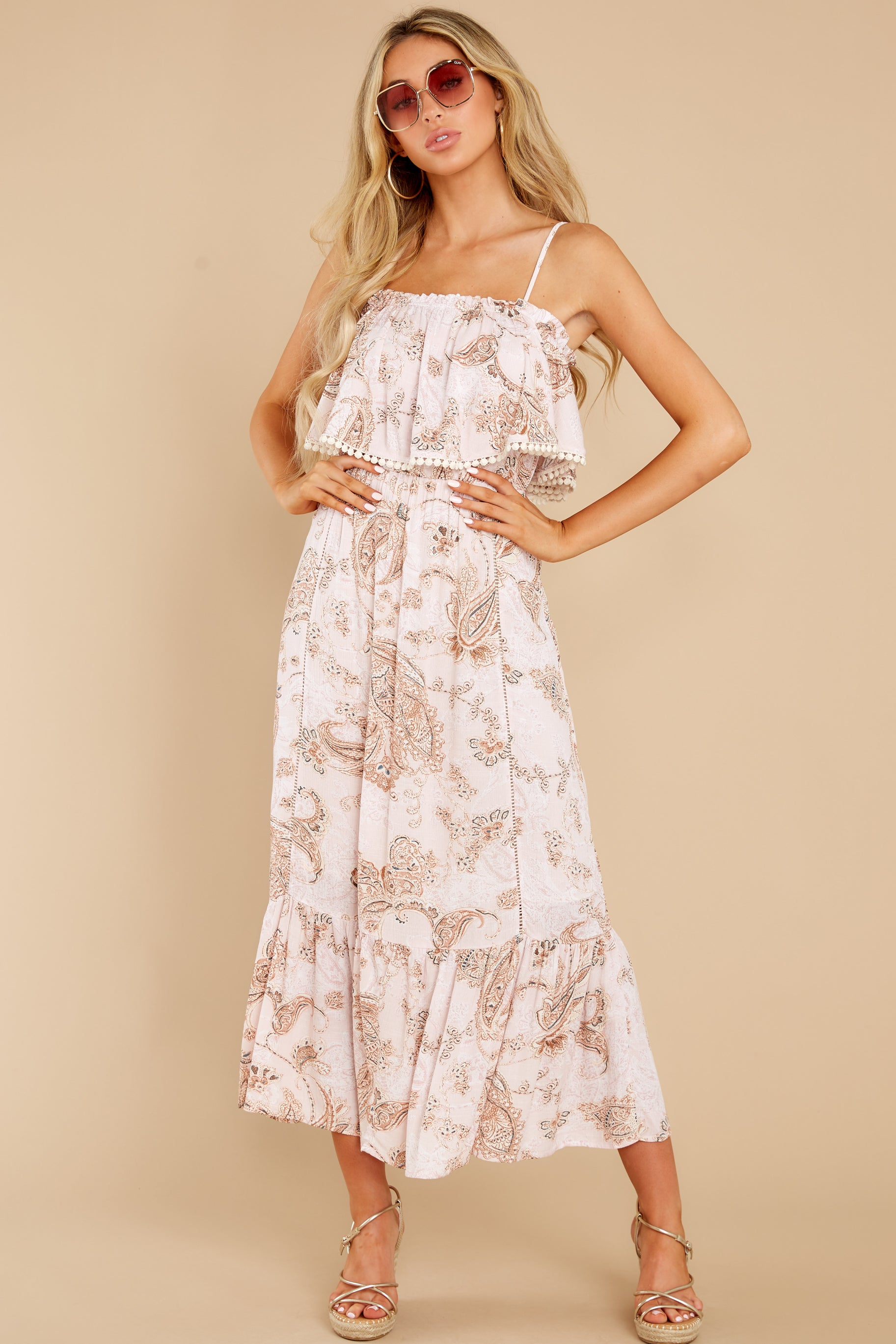 3 Tableside Cutie Dusty Pink Floral Print Maxi Dress at reddress.com