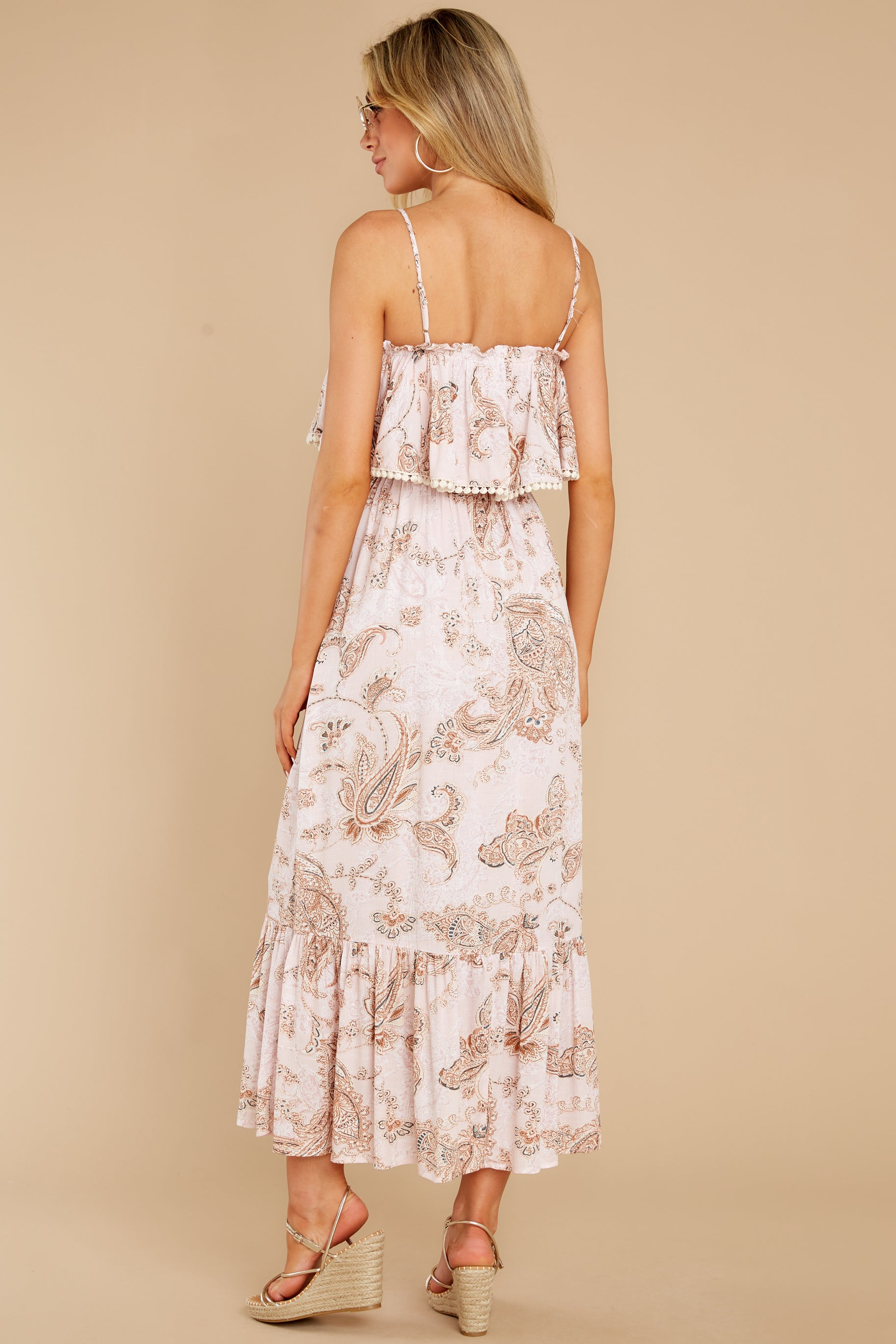7 Tableside Cutie Dusty Pink Floral Print Maxi Dress at reddress.com