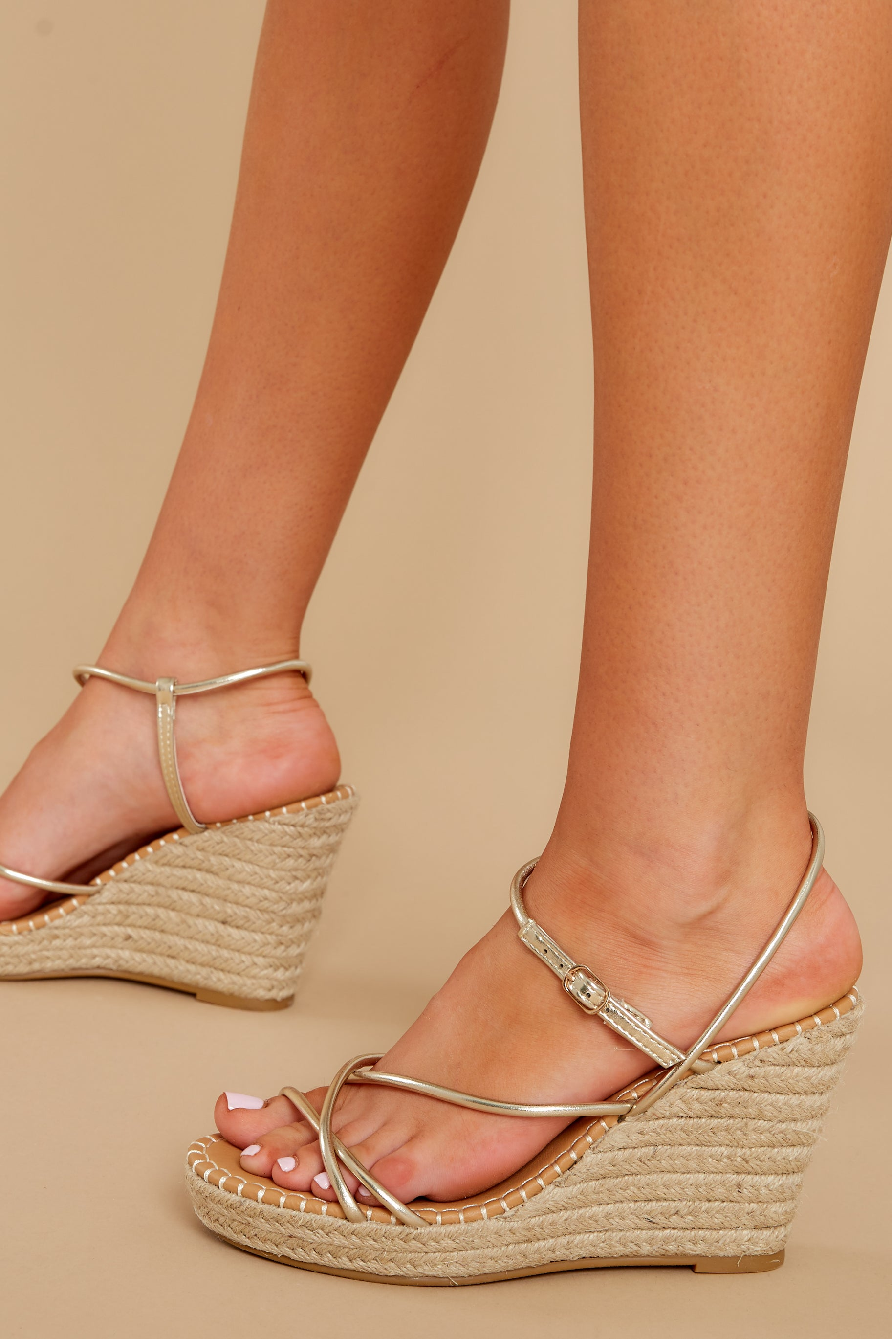1 Minutes To Midnight Gold Wedges at reddress.com