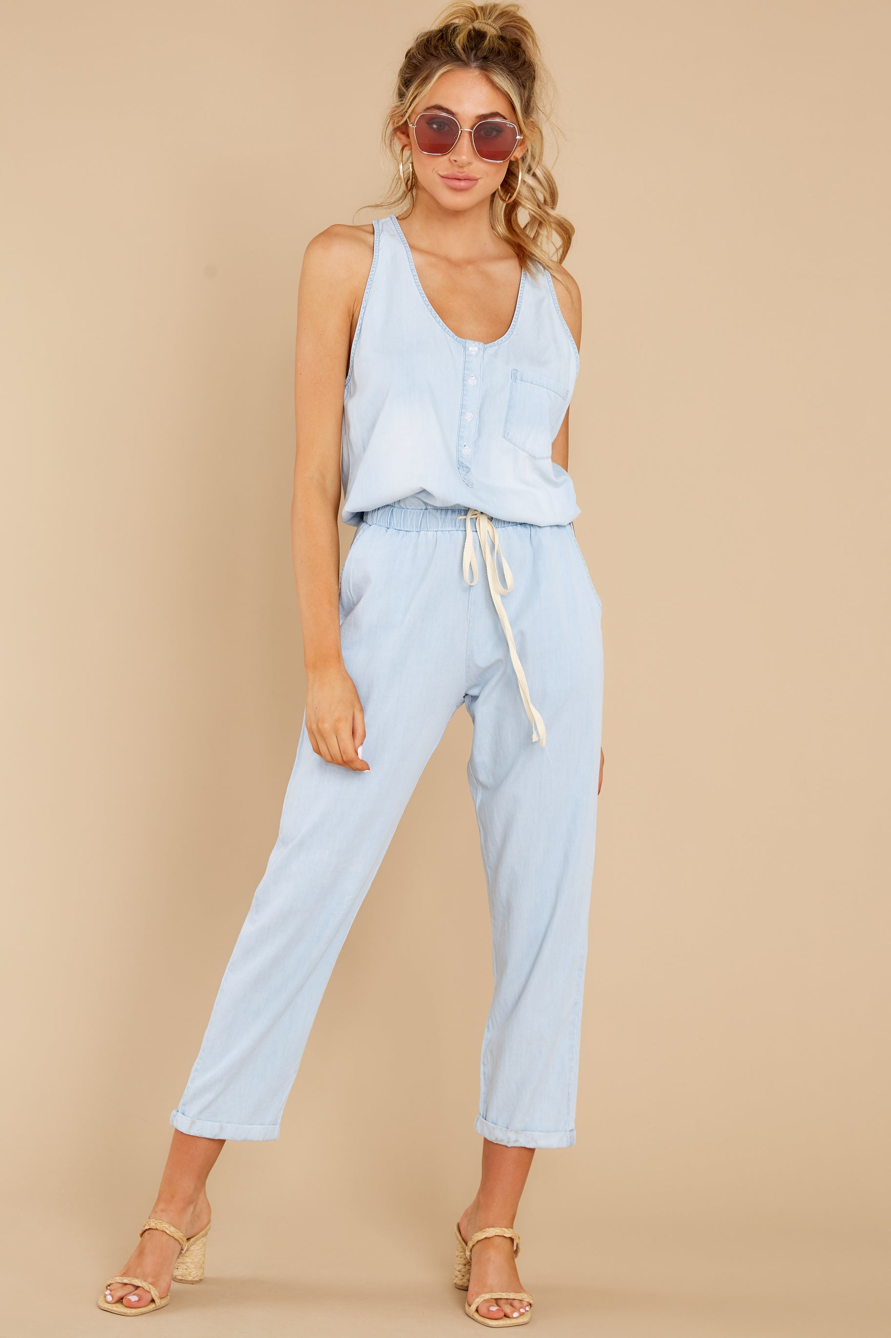 3 Play It Back Light Wash Chambray Jumpsuit at reddress.com