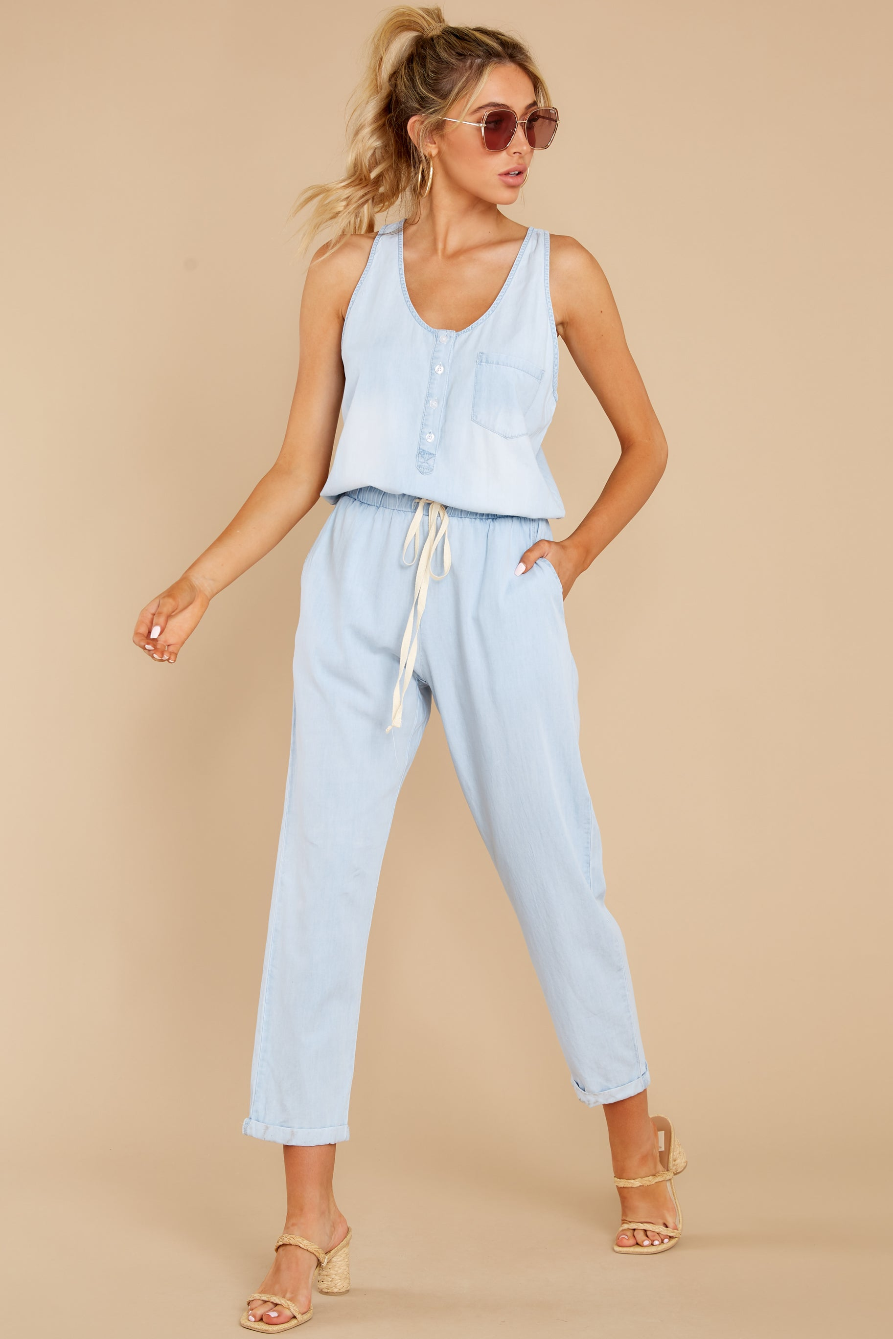 1 Play It Back Light Wash Chambray Jumpsuit at reddress.com