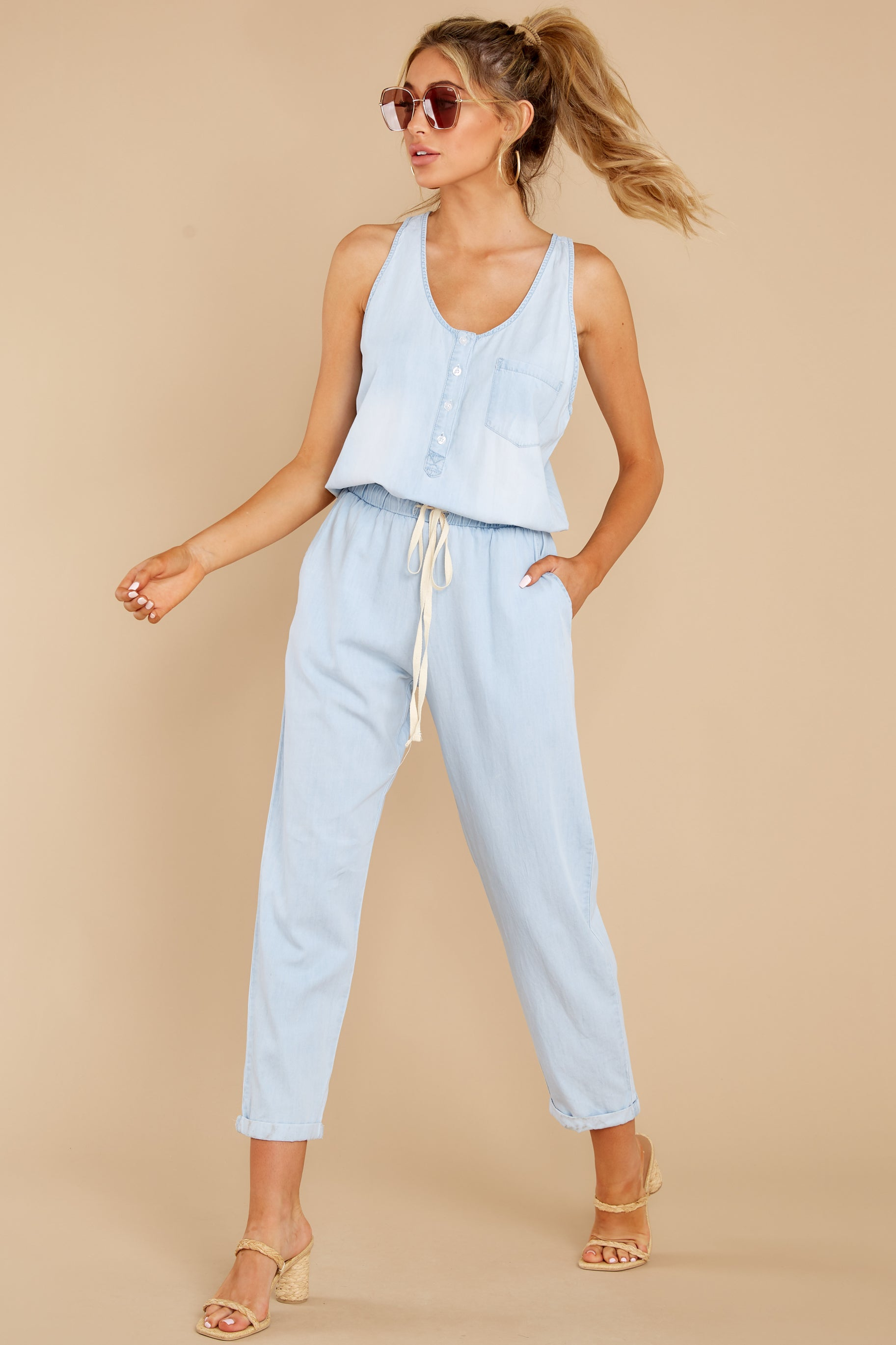 4 Play It Back Light Wash Chambray Jumpsuit at reddress.com