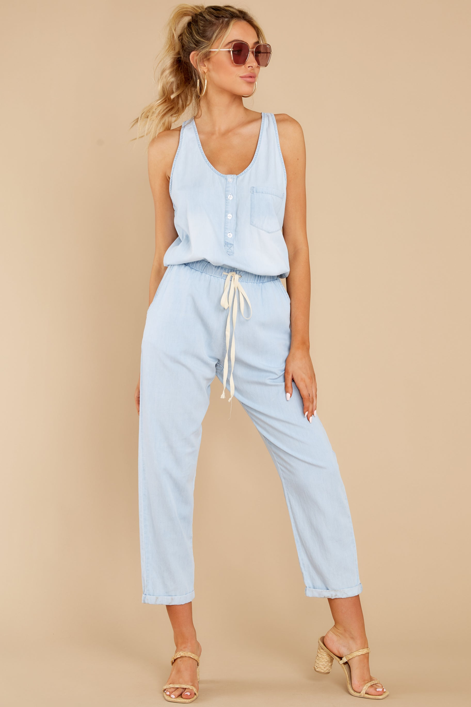 2 Play It Back Light Wash Chambray Jumpsuit at reddress.com